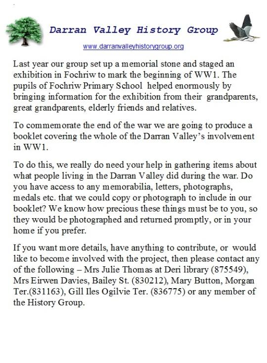 DVHG Fochriw Memorial Stone Notice